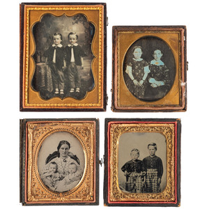 Daguerreotype and Ambrotype Portraits of Children Dressed in Matching Outfits, Lot of 4
