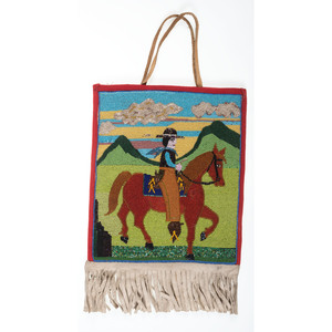 Plateau Beaded Flat Bag, with Horse and Cowboy