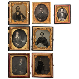 Daguerreotype, Ambrotype, and Tintype Portraits of Subject with Props, Including a Woman Seated Next to a Piano, Lot of 7