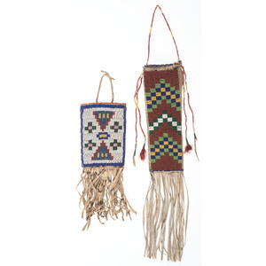 Northern Plains Beaded Hide Knife Sheath and Pouch, From the Collection of Nick and Donna Norman, Colorado