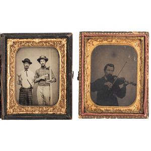 Occupational and Hobbyist Tintypes and Ambrotype, Including Pugilist Portrait and Remarkably Clear Image of Coopers Holding Tools of the Trade, Lot of 10