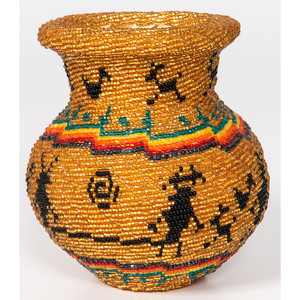 Tohono O'odham Beaded Basket