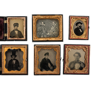 Daguerreotype and Ambrotype Portraits of Subjects Showing Off Accessories, Lot of 6