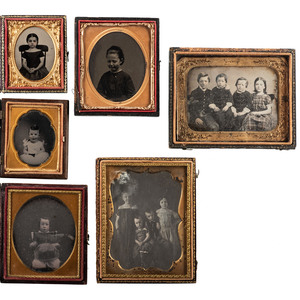 Daguerreotype, Ambrotype, and Tintype Portraits of Emotive Children, Including Endearing Sixth Plate Ambrotype Portrait of a Crying Girl, Lot of 7