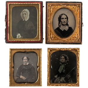 Daguerreotype and Ambrotype Portraits of Well-Dressed Ladies, Plus, Lot of 8