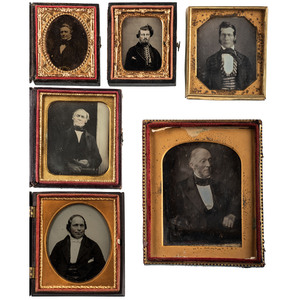 Daguerreotype and Ambrotype Portraits of Gentlemen with Haughty Expressions, Including Ross & Thomson Example, Lot of 12