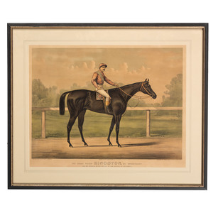 A Currier and Ives Hand-Colored Lithograph, The Great Racer Kingston, by Spendthrift