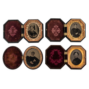 Fourteen Sixth and Ninth Plate Octagonal and Oval Geometric and Floral Union Cases Containing Ambrotypes and Tintypes of Men and Women
