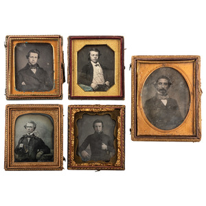 Daguerreotype Portraits of Debonnaire Gentlemen, Including a Daguerreotype by R.H. Vance, San Francisco, Lot of 9
