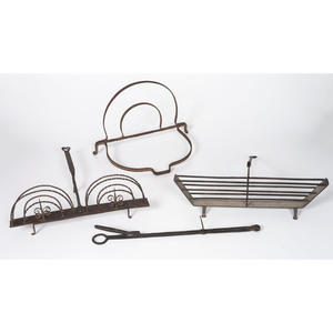 Two Wrought Iron Toasters, A Trivet and Tongs