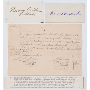 Revolutionary War Patriot Oliver Ellsworth Signed Pay Order, Plus Two Vice Presidents