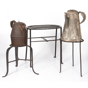 Three Wrought Iron Hearth Trivets and Two Tin Coffee Pots