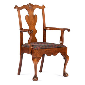 A Fine Philadelphia Chippendale Walnut Open Armchair