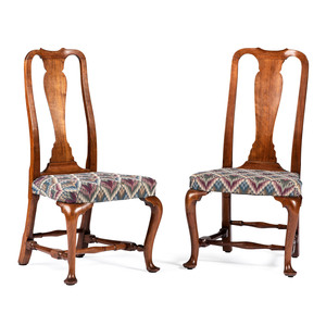 Two Boston Queen Anne Walnut Side Chairs