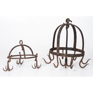 Two Wrought Iron Crown Game Racks