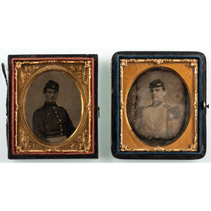 Pair of Militia Images, Including Daguerreotype Portrait by C.D. Fredericks and Unmarked Albumen Portrait