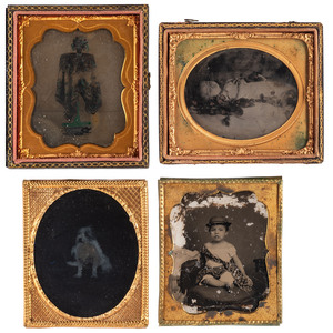 Sensitive and Sweet Ambrotypes and Tintypes, Including Post Mortem Portrait of a Young Girl, Lot of 6