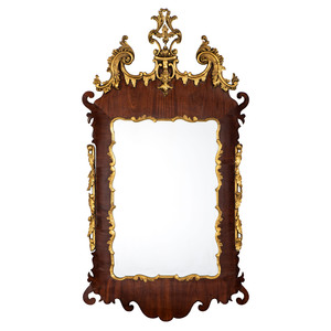 A Chippendale Carved Mahogany and Giltwood Mirror