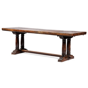 An Italian Walnut Inlaid Refectory Table