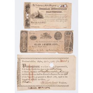 1786 Boston, Massachusetts Treasurer's Tax Certificate, Plus Early 19th Century Notes