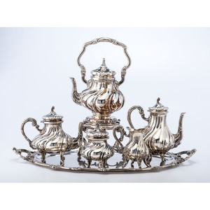 A Six-Piece Continental .800 Silver Coffee Service