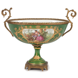 A Continental Porcelain Compote with Ormolu Mounts