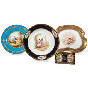 Two Continental Porcelain Cabinet Plates, A Vanity Tray and Ink Blotter