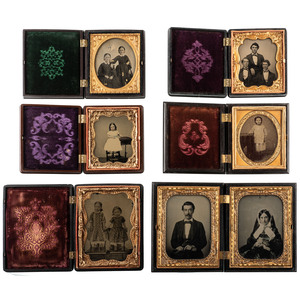 Eleven Fruit, Floral, and Geometric Quarter and Sixth Plate Union Cases Containing Portraits of Men, Women, and Children