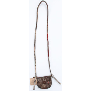 Southwest Turtle Shell Rattle AND Harness Leather Pouch, From an Estate in Sinking Springs, Ohio