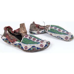 Cheyenne Beaded Buffalo Hide Moccasins, From an Estate in Sinking Springs, Ohio