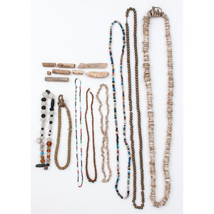 Plains and Southwest Necklaces, Beaded Pouches, and Wooden Pipe, From an Estate in Sinking Springs, Ohio