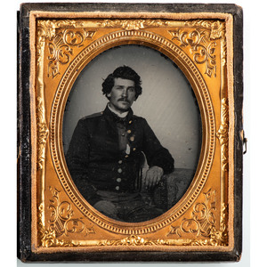 Sixth Plate Ambrotype of a Debonair Soldier, Possibly Union or Confederate