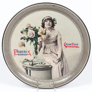 Pre-Prohibition Phoenix Komon Cream Beer Tray, Central Consumers Company, Louisville, Kentucky