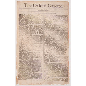 Group of Five Early English Newspapers, Including The Oxford Gazette Second Issue Dated November 20, 1665