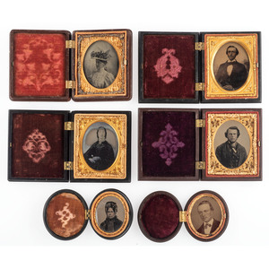 Twelve Sixth, Ninth, and Sixteenth Plate Figural Union Cases Containing Ambrotypes and Tintypes of Men and Women