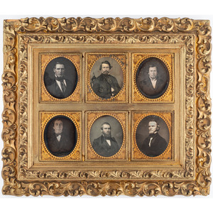 Gilt Daguerreian Wall Frame Containing Six Sixth Plate Daguerreotypes of Men