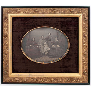 Daguerreian Wall Frame with Gilt Detail Containing a Full Plate Ambrotype Portrait of a Family by Jordan & Co.