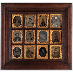 Daguerreian Wall Frame Containing Twelve Ninth Plate Images of Children