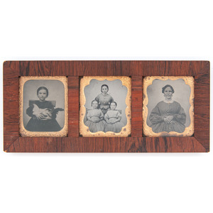 Lot of Two Wooden Daguerreian Wall Frames, Containing Sixth Plate and Ninth Plate Ambrotype and Tintype Portraits of Men, Women, and Children