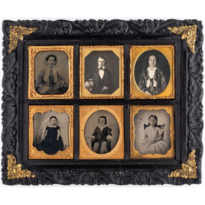 Lot of Two Daguerreian Wall Frames Containing Sixth and Ninth Plate Daguerreotype, Ambrotype and Tintype Portraits of Men, Women, and Children