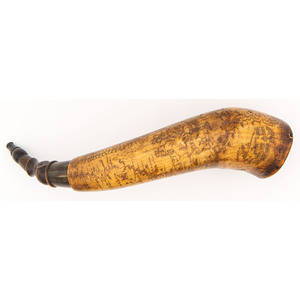 An Exceptional French and Indian Wars Engraved Powder Horn