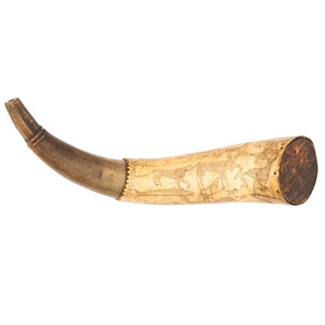 Jonathan Hunton's Revolutionary War Powder Horn with Engraved Folk Styled Animal Scenes Identified to Jonathan Hunton of Milford, New Hampshire