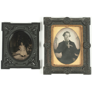 Pair of Ambrotype Portraits Housed in Union Wall Frames, Including Amusing Half Plate Portrait of a Man Pointing Off Camera