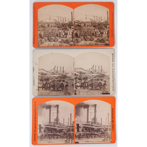 [STEREOVIEWS]. MUGNIER, George Francois, photographer. A group of 6 stereoviews of the New Orleans levee and steamboats. New Orleans: [ca 1880s].
