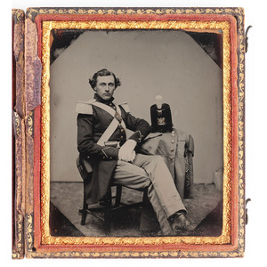 Sixth Plate Ruby Ambrotype Seated Portrait of a New Jersey Militia Private with Shako