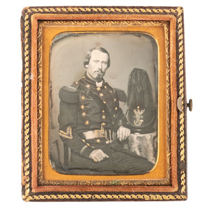 Ninth Plate Daguerreotype Portrait of Militia Corporal with Black Plumed Shako
