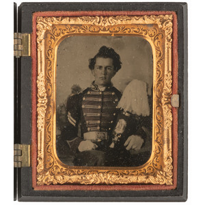 Ninth Plate Ruby Ambrotype of a Militia Corporal with Plumed Shako