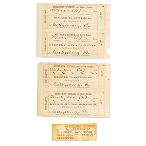 Four Gettysburg Train Tickets Used for Transporting Soldiers after the Battle