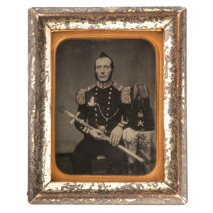 Framed Quarter Plate Ambrotype Portrait of a New Jersey State Militiaman, with Sword and Shako