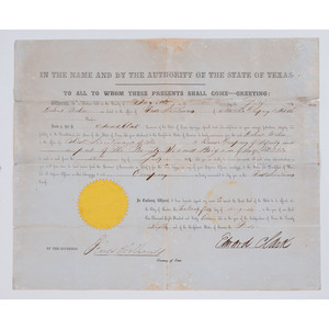 Civil War Confederate Texas Officer's Commission 1861, Signed by Edward Clark and Bird Holland